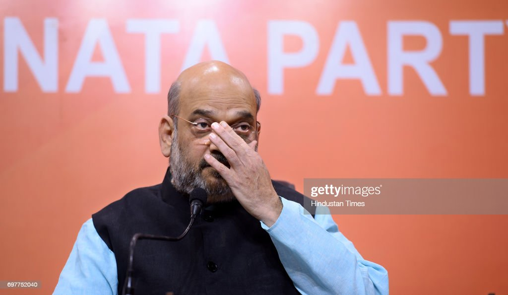 BJP National President Amit Shah during a press conference after the party's Parliamentary Board meeting to announce their Presidential candidate, on June 19, 2017 in New Delhi, India. Bihar Governor Ramnath Kovind was named as NDA's nominee for presidential poll.
