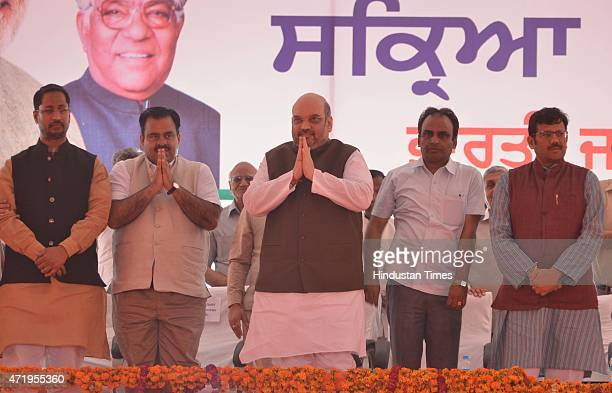 National President Amit Shah National Secretary Tarun Chugh and State President Kamal Sharma during the BJP active members conference held at Ranjeet...