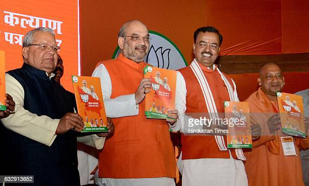 National President Amit Shah releasing the party's manifesto for the UP assembly election on January 28 2017 in Lucknow India BJP promised to push...