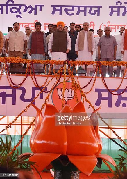 National President Amit Shah Union Minister Vijay Sampla State president Kamal Sharma National General Secretary Orgnisition Ram Lal and National...