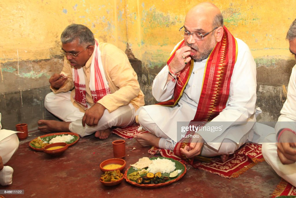 BJP National President Amit Shah visit North Kolkata cossipore Lokegate a slum area and had lunch his Party worker Home along Kailash Vijayvargiya,West Bengal BJP President Dilip Ghosh on September 13,2017 in Kolkata,India.