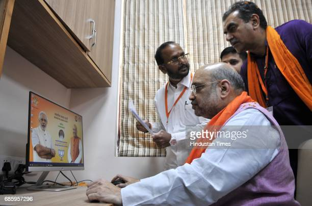 National President Amit Shah with local leaders after inaugurating the newlyrenovated hitech BJP office in the city on May 20 2017 in Chandigarh...