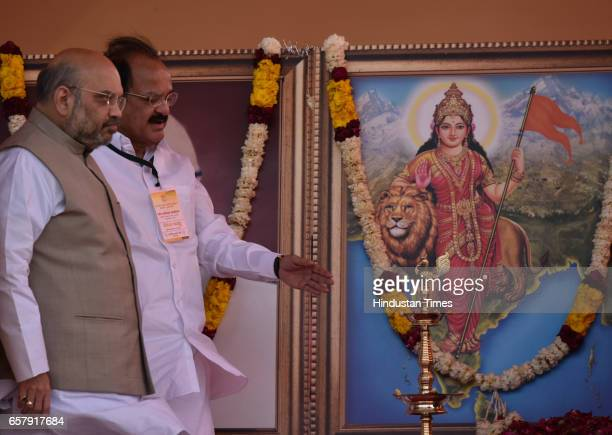 National president Amit Shah with Minister of Housing and Urban Poverty Alleviation and Information and Broadcasting Venkaiah Naidu and others senior...