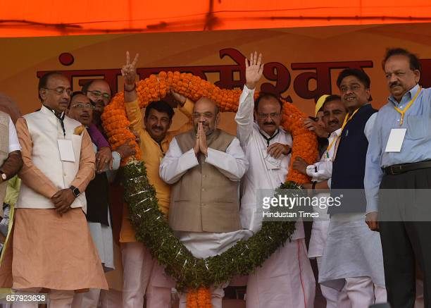 National President Amit Shah with Minister of Housing and Urban Poverty Alleviation and Information and Broadcasting Venkaiah Naidu and other senior...