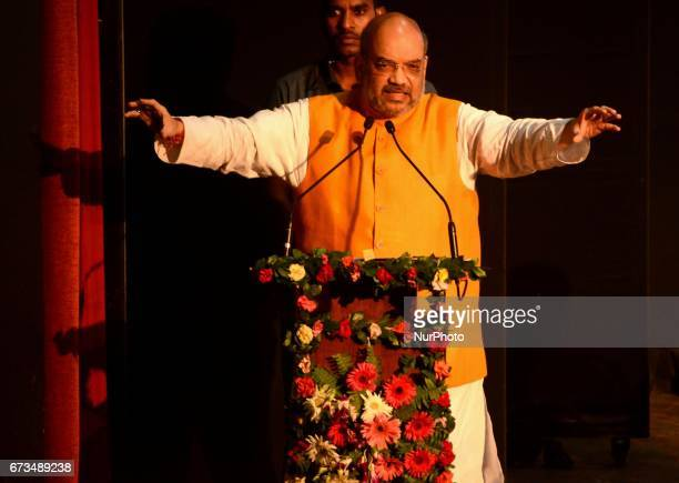 National President of Bharatiya Janata Party Amit Shah deliver his speech in Kolkata India on Wednesday 26th April 2017The BJP chief's threeday tour...