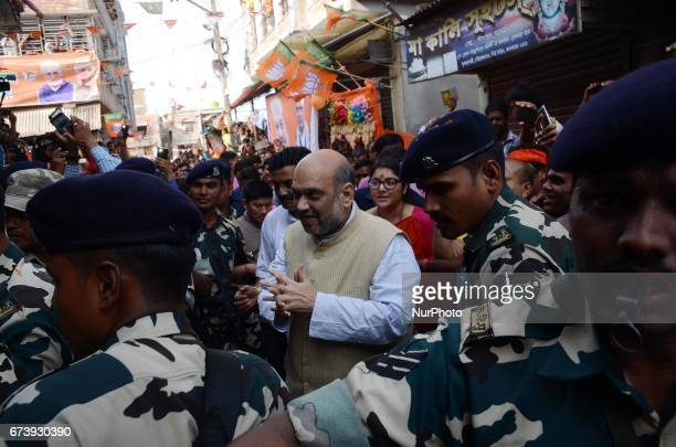 National President of Bharatiya Janata Party Amit Shah during the visit of suburban area of Rajarhat Newtown Constituency in Kolkata India on...