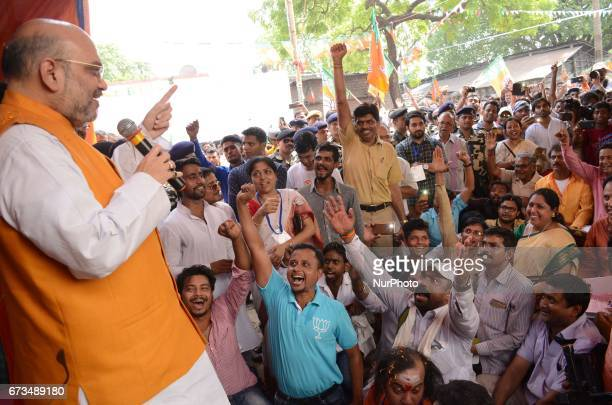 National President of Bharatiya Janata Party Amit Shah meets party workes in slum area at Chetla in Bhabanipur in Chief Minister Mamata Banerjee's...