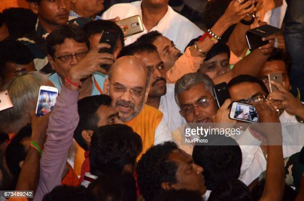 National President of Bharatiya Janata Party Amit Shah meets party workers in Kolkata India on Wednesday 26th April 2017The BJP chief's threeday tour...