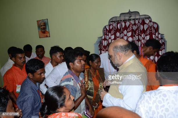 National President of Bharatiya Janata Party Amit Shah meets the party wokers during the visit of suburban area of Rajarhat Newtown Constituency in...