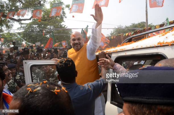 National President of Bharatiya Janata Party Amit Shah visits party worker's home in slum area at Chetla in Bhabanipur in Chief Minister Mamata...