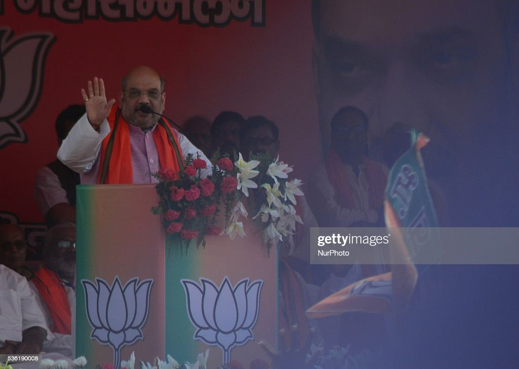 National president of Bhartiya Janta Party( BJP) <a gi-track='captionPersonalityLinkClicked' href=/galleries/search?phrase=Amit+Shah+-+Homme+politique&family=editorial&specificpeople=13547167 ng-click='$event.stopPropagation()'>Amit Shah</a>'s speaks during Sardar Patel Kisan rally, in Allahabad on May 31,2016.