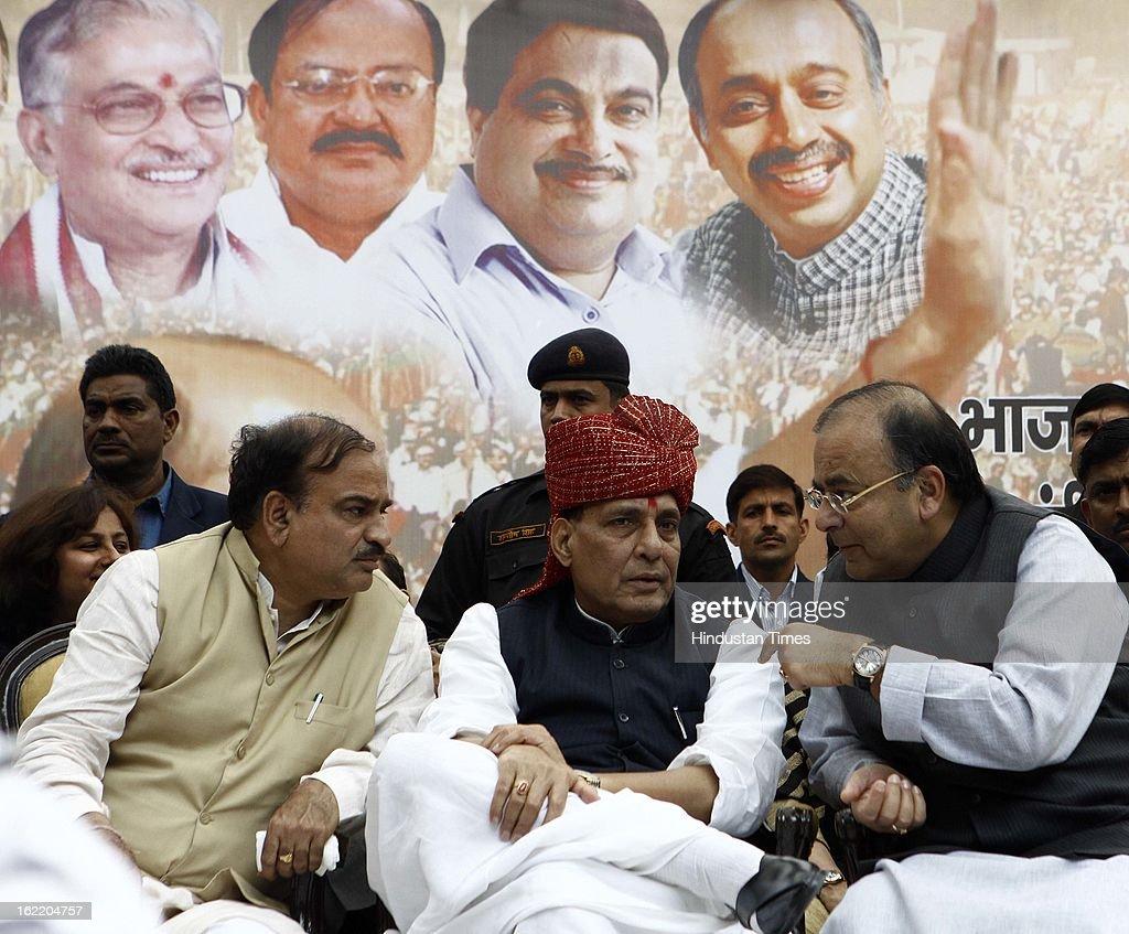 BJP National President Rajnath Singh with Senior Party leaders Arun Jaitely and Annatha Kumar at a rally in protest against Union Home Minister Sushil Kumar Shinde's remarks linking saffron terror to BJP and RSS, at Jantar Mantar on February 20, 2013 in New Delhi, India. Stepping up the attack on Shinde ahead of the Budget session the BJP president said that the comments were part of a conspiracy to divide the nation for votebank politics and demanded an apology from Home Minister.