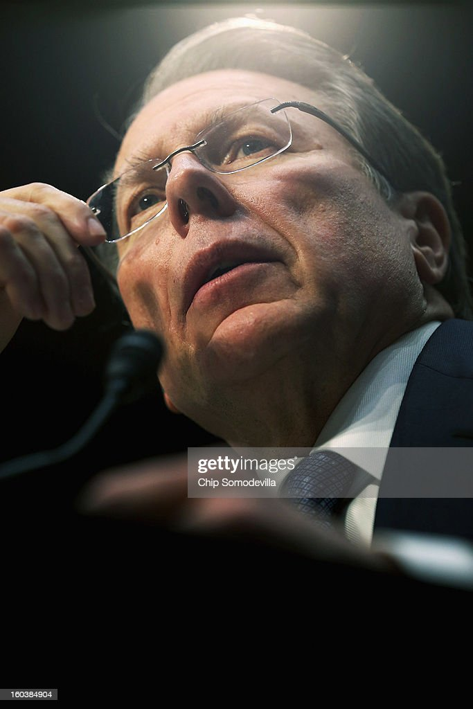 National Rifle Association Executive Vice President and Chief Executive Officer Wayne LaPierre (L) testifies before the Senate Judiciary Committee during hearing about gun control on Capitol Hill January 30, 2013 in Washington, DC. Shooting victim and former U.S. Rep. Gabby Giffords (D-AZ) delivered an opening statment to the committee, which met for the first time since the mass shooting at a Sandy Hook Elementary School in Newtown, Connecticut.