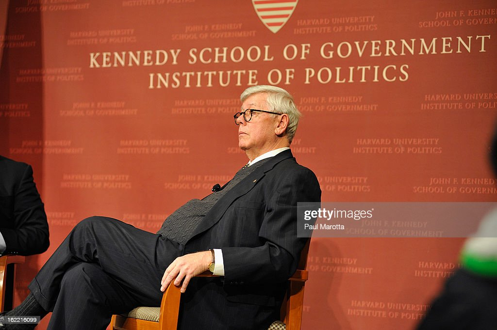 National Rifle Association President David Keene speaks at Harvard's John F. Kennedy Jr. Forum at the Institute of Politics: A Conversation With CNN's Chief National Correspondent John King And the National Rifle Association's President David Keene at The John F. Kennedy School of Government on February 20, 2013 in Cambridge, Massachusetts.