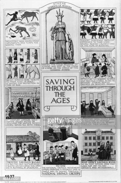 National Savings Poster Saving through the ages1937