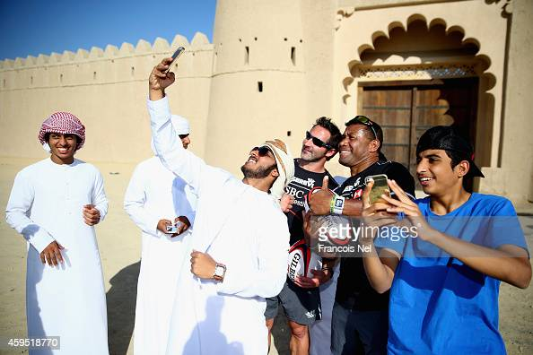 National Schoolboys take selfies with Waisale Serevi and Ben Gollings during the HSBC Rugby Festival powered by Serevi at Al Jahili Fort on November...