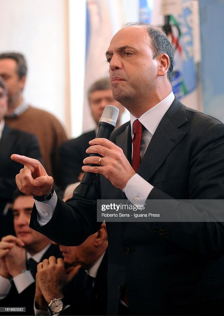 National Secretary of PdL (The People of Freedom) Angelino Alfano speaks during a meeting with his supporters on February 14, 2013 in Bologna, Italy.