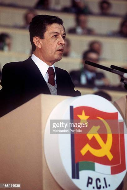 National secretary of the Italian Communist Party Enrico Berlinguer speaking at the 15th National Congress of the Party Rome 1979