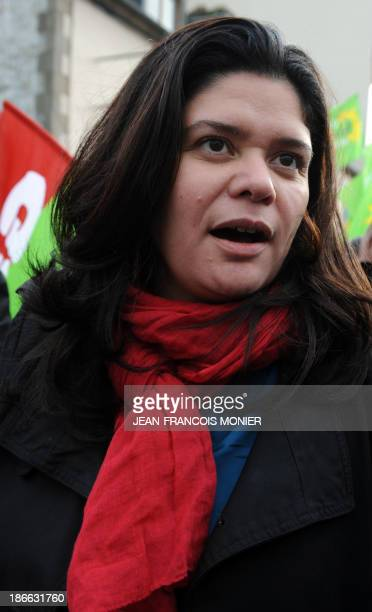 National secretary of the Left party Raquel Garrido takes part in a demonstration organised by unions against job losses in Brittany in...