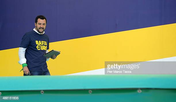 National Secretary of the Northern League Matteo Salvini speaks at the annual Northern League Meeting in Pontida on May 4 2014 in Bergamo Italy The...