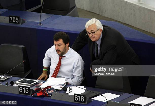 National Secretary of the Northern League Matteo Salvini talks to European MP of the Italian party Lega Nord Mario Borghezio in the plenary room...