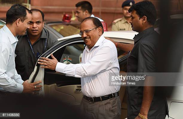 National Security Adviser Ajit Kumar Doval arrives to attend an allparty meeting following Indian army's surgical strikes along the LoC on Wednesday...