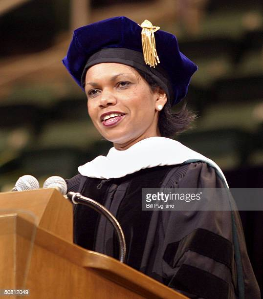 S National security adviser Condoleezza Rice delivers a commencement address to students at Michigan State University May 7 2004 in East Lansing...
