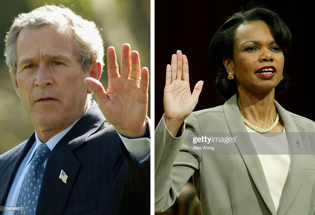 In this composite image a comparison has been made between former US President George W. Bush and his serving Secretary of State Condoleezza Rice. WASHINGTON - APRIL 8: U.S. National Security Adviser Condoleezza Rice is sworn in before testifying at the National Commission on Terrorist Attacks on the United States, on Capitol Hill April 8, 2004 in Washington, DC. Rice is defending the Bush administration's anti-terror policy to the panel investigating what happened before the September 11, 2001 terrorist attacks.