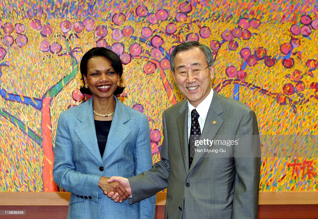 National Security Adviser <a gi-track='captionPersonalityLinkClicked' href=/galleries/search?phrase=Condoleezza+Rice&family=editorial&specificpeople=157540 ng-click='$event.stopPropagation()'>Condoleezza Rice</a> (L) shakes hands South Korean Foreign Minister <a gi-track='captionPersonalityLinkClicked' href=/galleries/search?phrase=Ban+Ki-Moon&family=editorial&specificpeople=206144 ng-click='$event.stopPropagation()'>Ban Ki-Moon</a> during a meeting at Ministry of Foreign Affairs and Trade building on July 9, 2004 in Seoul, South Korea. Rice is scheduled to pay a visit to South Korean President Roh Moo-hyun and deliver a personal letter from U.S. President <a gi-track='captionPersonalityLinkClicked' href=/galleries/search?phrase=George+W.+Bush&family=editorial&specificpeople=122011 ng-click='$event.stopPropagation()'>George W. Bush</a>. The letter is expected to contain Bush's thanks for Seoul's unwavering commitment to contribute additional troops to the U.S.-led coalition in Iraq.
