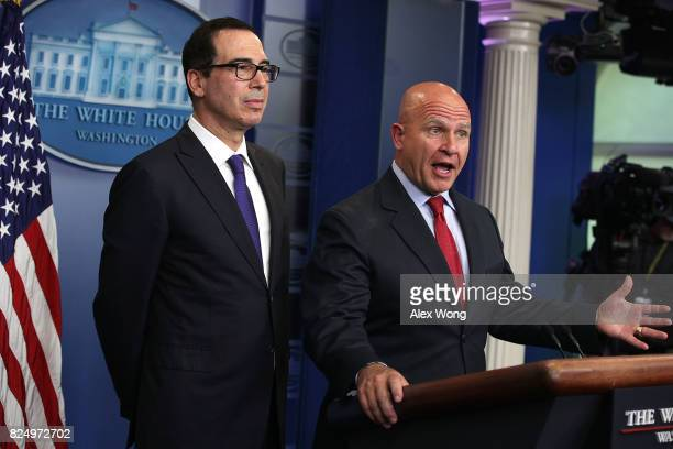 National Security Adviser HR McMaster speaks as US Treasury Secretary Steven Mnuchin listens during a daily briefing at the James Brady Press...