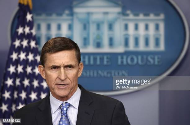 National Security Adviser Michael Flynn answers questions in the briefing room of the White House February 1 2017 in Washington DC Flynn said the...