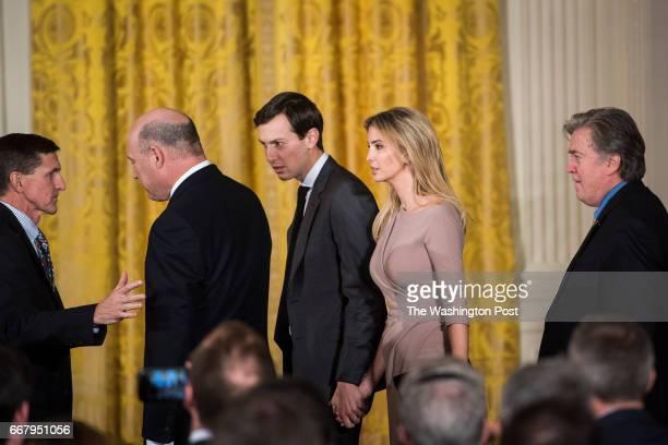 National Security Adviser Michael Flynn Jared Kushner senior adviser to the president Ivanka Trump and Chief Strategist Steve Bannon arrive before...