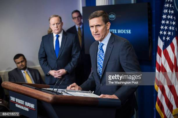 National Security Adviser Michael Flynn speaks in the James S Brady Press Briefing Room during the daily news briefing at the White House in...