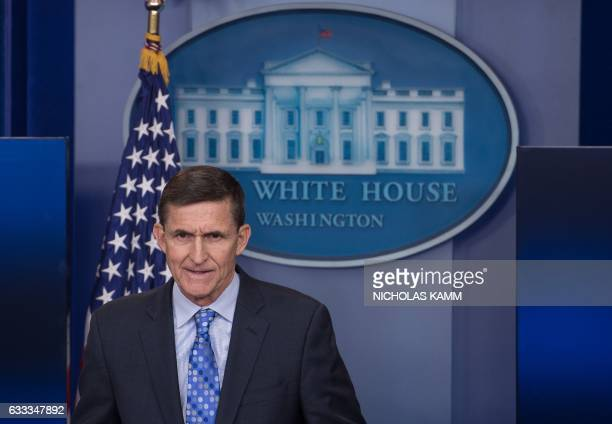 US National Security Adviser Mike Flynn speaks during the daily press briefing at the White House in Washington DC on February 1 2017 Flynn signaled...