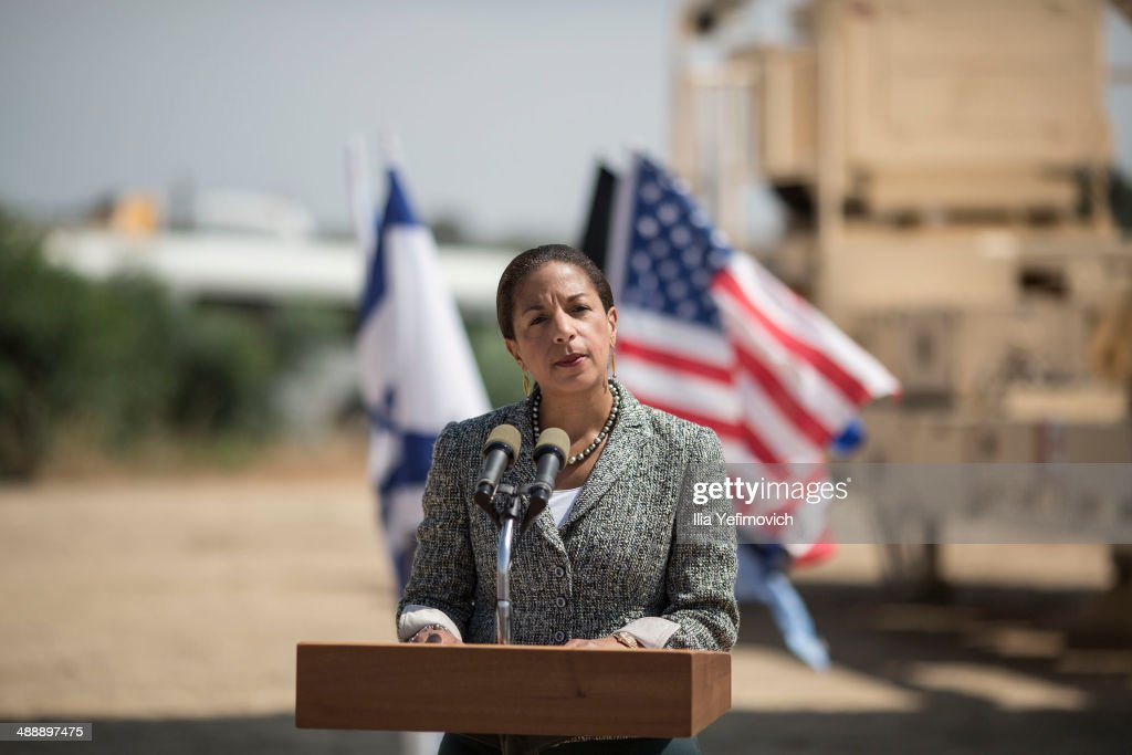 US National Security Adviser, Susan Rice gives a speech to the press, in front of the Israeli missile system 'Arrow II' at the Palmachim Airbase on May 9, 2014 in Rishon LeZion, Israel. The US National Security Adviser visited Palmahim Air Base to see the new 'Arrow II' intercepting missile system.