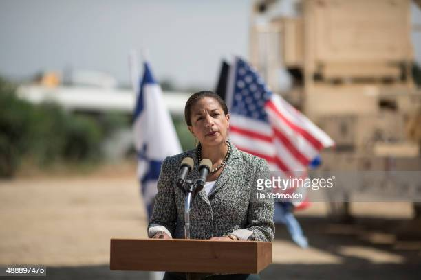 National Security Adviser Susan Rice gives a speech to the press in front of the Israeli missile system 'Arrow II' at the Palmachim Airbase on May 9...