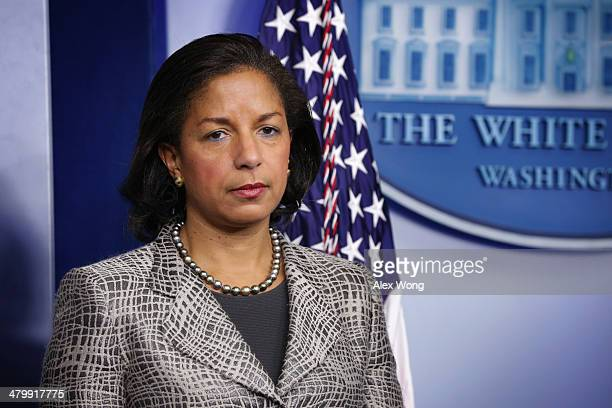 S National Security Adviser Susan Rice listens during the White House Daily Briefing at the James Brady Press Briefing Room of the White House March...