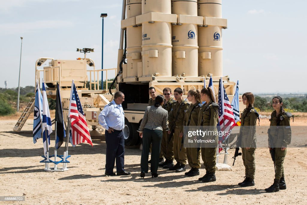 US National Security Adviser, <a gi-track='captionPersonalityLinkClicked' href=/galleries/search?phrase=Susan+Rice&family=editorial&specificpeople=5458775 ng-click='$event.stopPropagation()'>Susan Rice</a> speaks with Israeli soldiers next to the Israeli missile system 'Arrow II' before her speech at the Palmachim Airbase on May 9, 2014 in Rishon LeZion, Israel. The US National Security Adviser visited Palmahim Air Base to see the new 'Arrow II' intercepting missile system.
