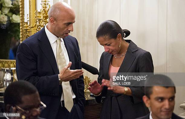 National Security Adviser Susan Rice speaks with Yousef Al Otaiba Ambassador of the United Arab Emirates to the US during an Iftar dinner celebrating...
