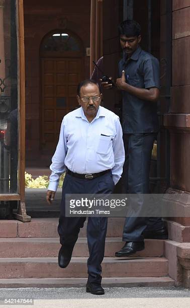 National Security Advisor Ajit Doval after the Cabinet meeting at South Block on June 22 2016 in New Delhi India The Union Cabinet took a slew of...