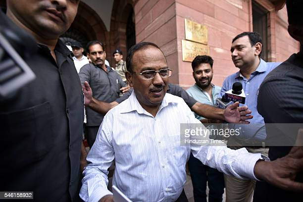 National Security Advisor Ajit Doval leaves Home Ministry after a high level meeting on Kashmir issue on July 11 2016 in New Delhi India Deadly...
