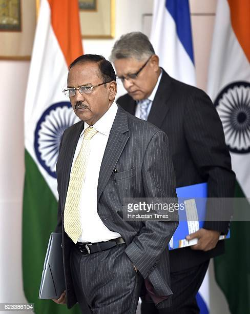 National Security Advisor Ajit Doval prior to a meeting between Israeli President Reuven Rivlin and Prime Minister Narendra Modi at Hyderabad House...