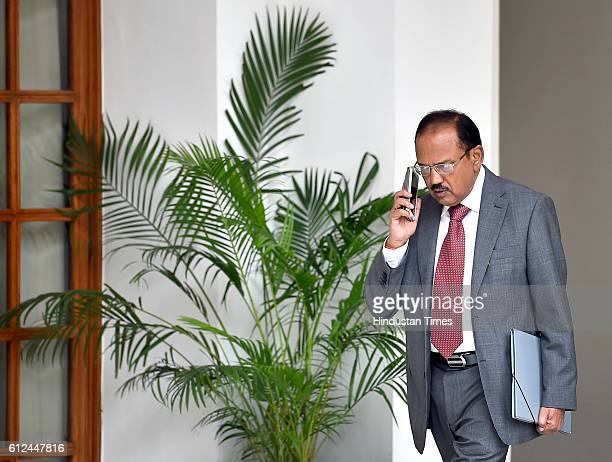 National Security Advisor Ajit Doval prior to a meeting between Prime Minister Narendra Modi and Singaporean counterpart Lee Hsien Loong at Hyderabad...