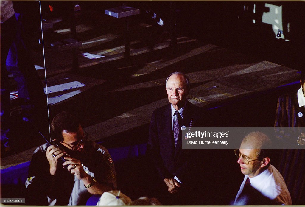 US National Security Advisor Brent Scowcroft looks on at a Bush/Quayle campaign rally on November 2, 1992 in Louisville, Kentucky. President George H.W. Bush is running for his second term in office.