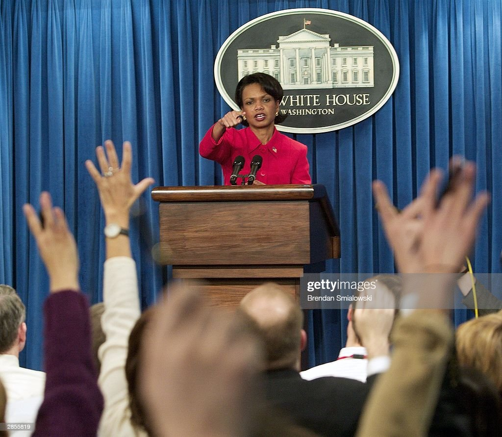 National Security Advisor Condoleezza Rice briefs media at the White House January 9, 2004 in Washington. The President will be traveling to Mexico to work on the U.S. relationship between the two countries.