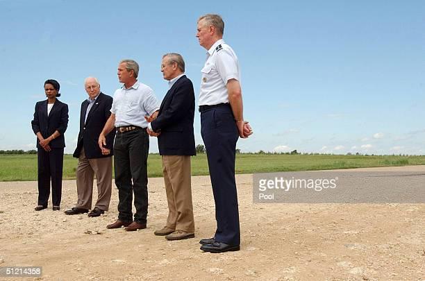 National Security Advisor Condoleezza Rice Vice President Dick Cheney President George W Bush Secretary of Defense Donald Rumsfeld and Joint Chiefs...