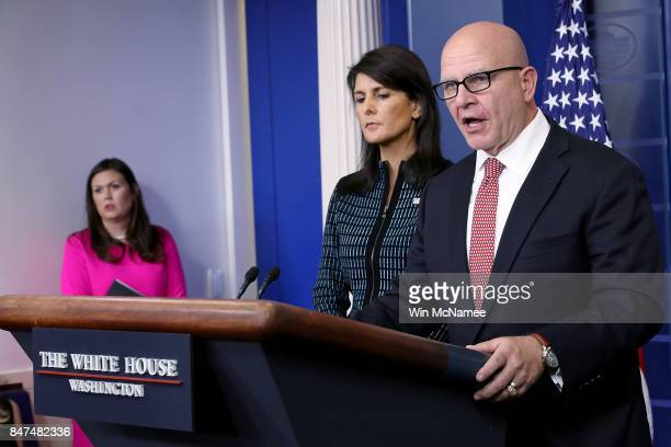 National Security Advisor General HR McMaster and US Ambassador to the United Nations Nikki Haley answer questions at a briefing at the White House...