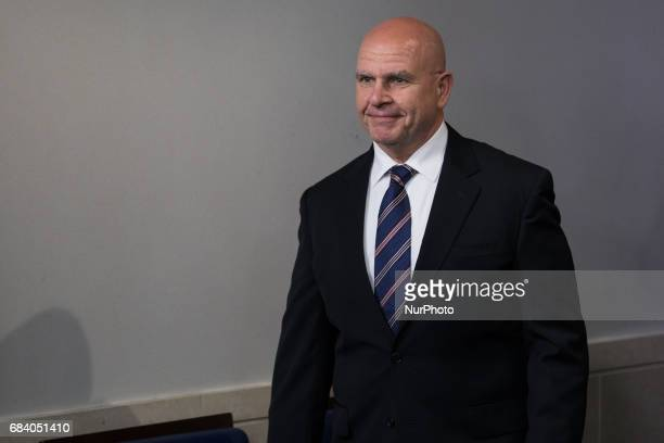 National Security Advisor H R McMaster enters the James S Brady Press Briefing Room of the White House on Tuesday May 16 2017