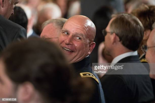 US National Security Advisor H R McMaster was present for he Medal of Honor ceremony for former Specialist Five James C McCloughan US Army in the...