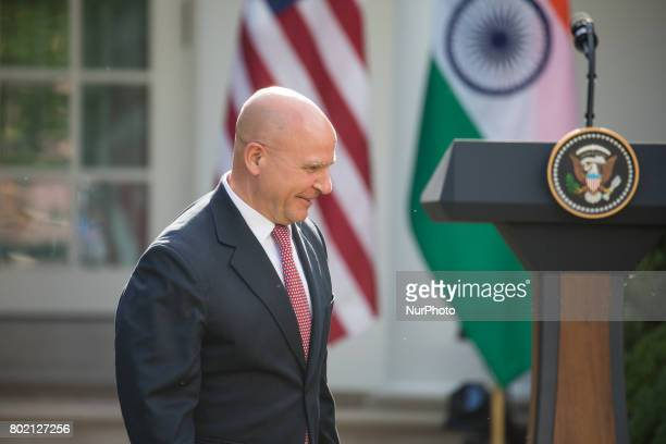 US National Security Advisor H R McMaster was present for President Donald Trump and Prime Minister Narendra Modi of India's joint press conference...